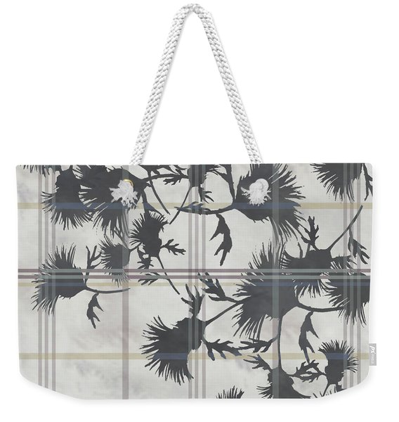 Cream Thistle Plaid Contrast Border Weekender Tote Bag
