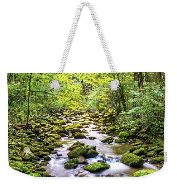 Creek Running Through Roaring Fork In Smoky Mountains Weekender Tote Bag
