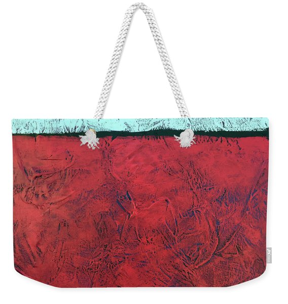 Crimson Earth Meets Pearl Sky Weekender Tote Bag