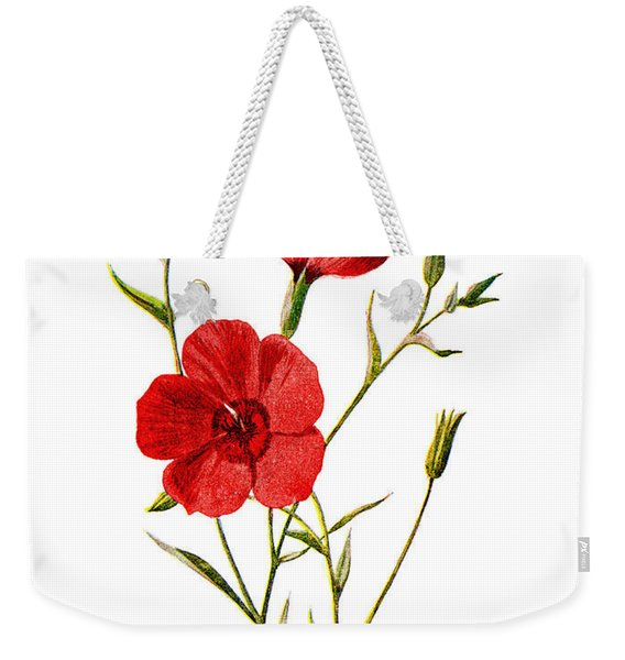Crimson Flax Flower Weekender Tote Bag