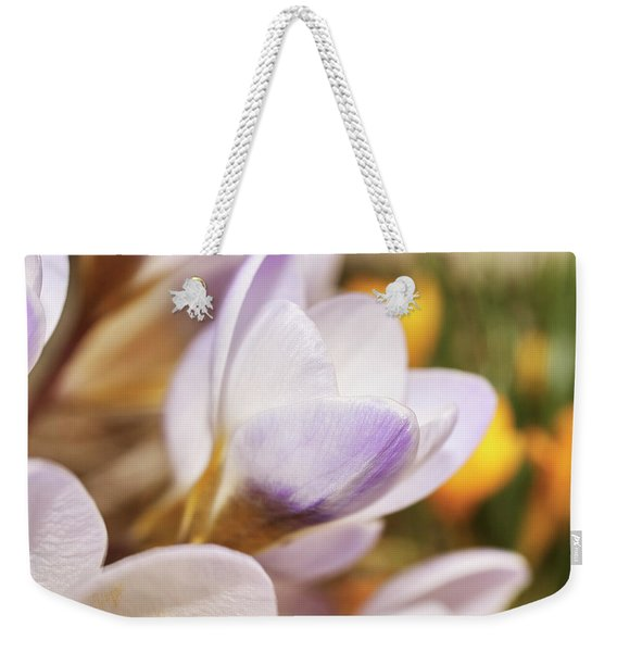 Weekender Tote Bag featuring the photograph Crocus by Whitney Goodey