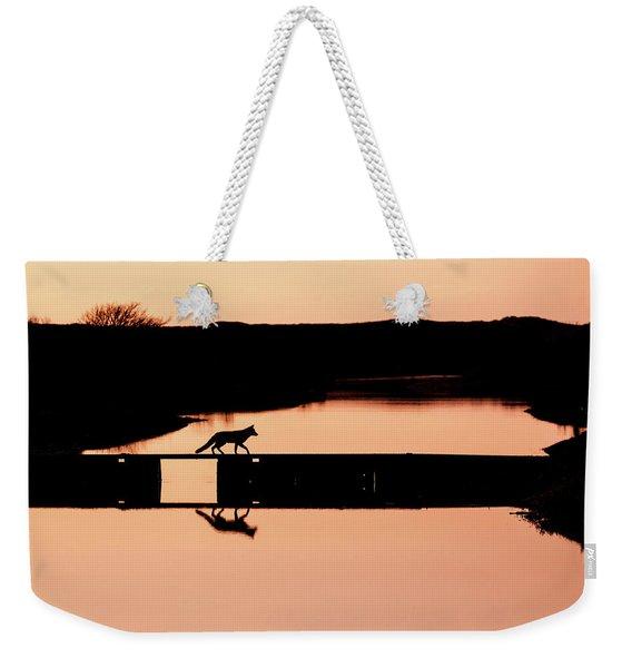 Crossing The Bridge - Red Fox Silhouette Weekender Tote Bag