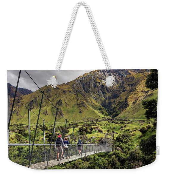 Crossing The River In New Zealand Weekender Tote Bag
