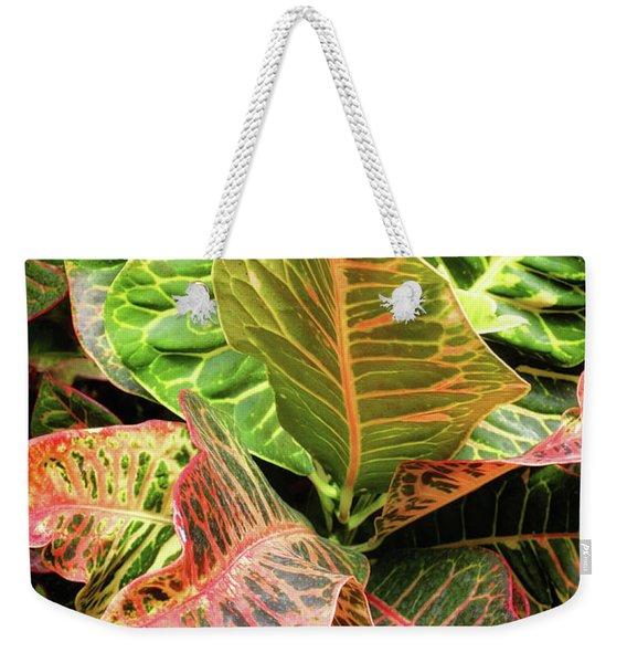 Croton Leaves Weekender Tote Bag