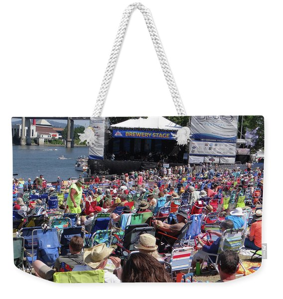 Crowd Enjoys Listening On A Sunny Day  Weekender Tote Bag