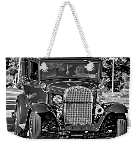 Cruising Sauble Beach - Red Ford Hotrod Bw Weekender Tote Bag