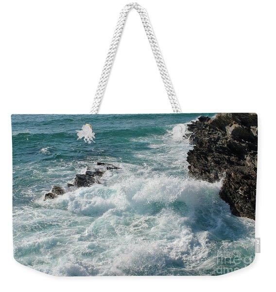 Crushing Waves In Porto Covo Weekender Tote Bag