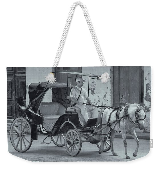 Weekender Tote Bag featuring the photograph Cuban Horse Taxi by Tom Singleton