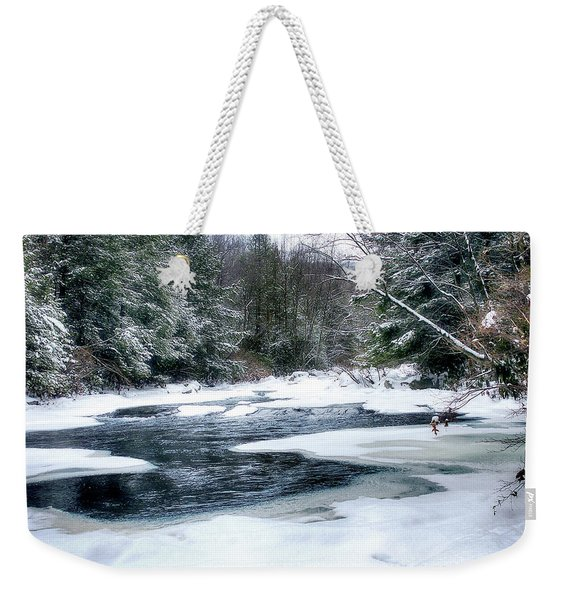 Cucumber Run In Winter Weekender Tote Bag