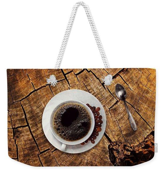 Cup Of Coffe On Wood Weekender Tote Bag