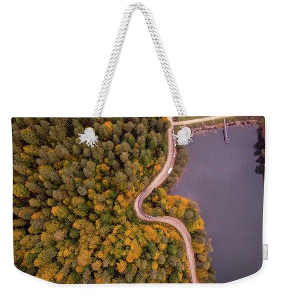Curved Road At Lakeside Weekender Tote Bag