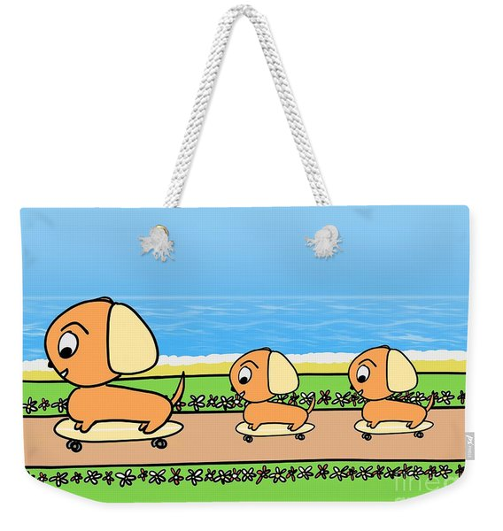 Cute Cartoon Dogs On Skateboards By The Beach Weekender Tote Bag