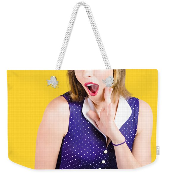 Cute Shocked Girl With Pinup Make-up And Hairstyle Weekender Tote Bag