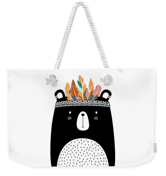 Cute Tribal Bear - Boho Chic Ethnic Nursery Art Poster Print Weekender Tote Bag