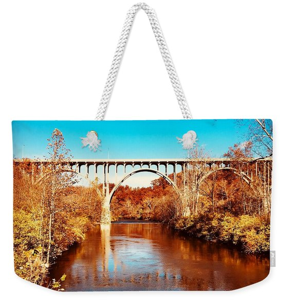 Cuyahoga River At Autumn Weekender Tote Bag