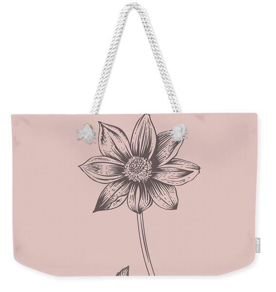 Dahlia Blush Pink Flower Weekender Tote Bag