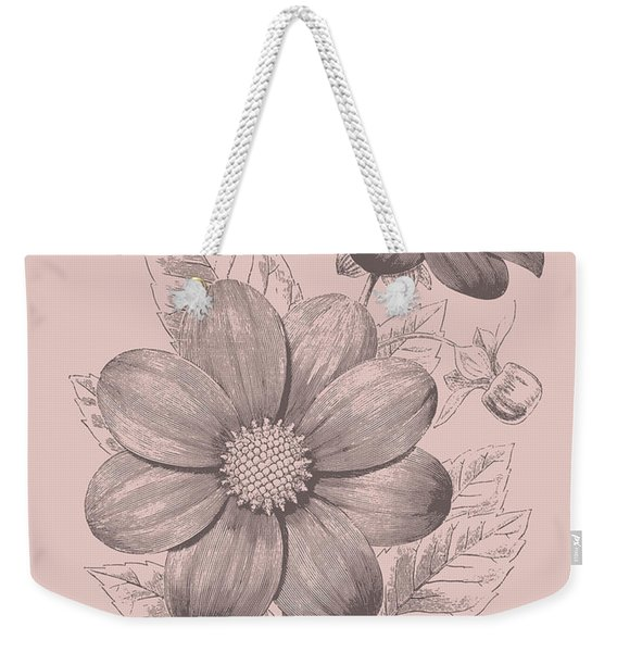 Dahlias Blush Pink Flower Weekender Tote Bag