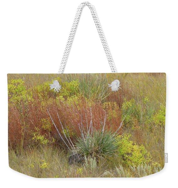 Weekender Tote Bag featuring the photograph Dakota Prairie Brocade by Cris Fulton