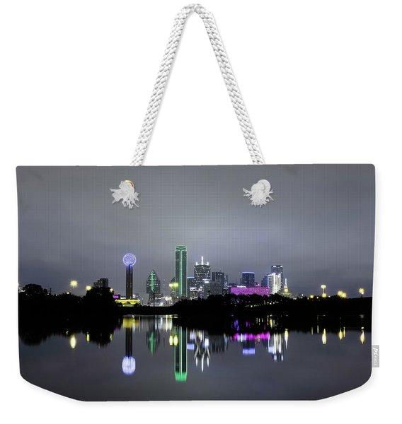 Dallas Texas Cityscape River Reflection Weekender Tote Bag