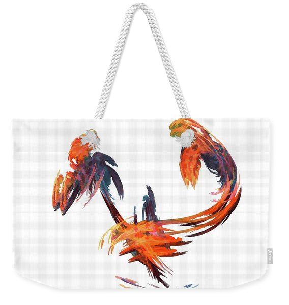 Weekender Tote Bag featuring the digital art Dance Of The Birds Orange by Don Northup