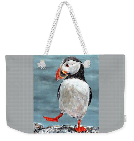 Dancing Puffin Weekender Tote Bag