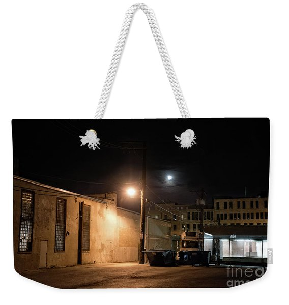 Dark Chicago City Alley At Night With The Moon Weekender Tote Bag