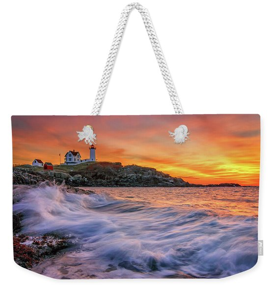 Dawn At Cape Neddick Lighthouse Weekender Tote Bag