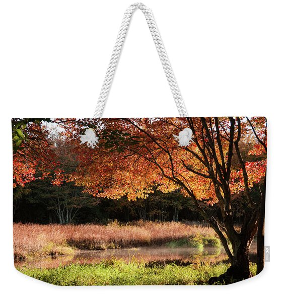 Weekender Tote Bag featuring the photograph Dawn Lighting Rhode Island Fall Colors by Jeff Folger