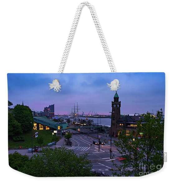 Dawn Over The Port And City Hamburg Panorama Weekender Tote Bag