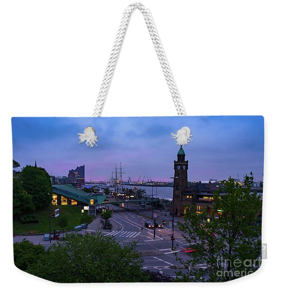 Dawn Over The Port And City Hamburg Panorama Weekender Tote Bag