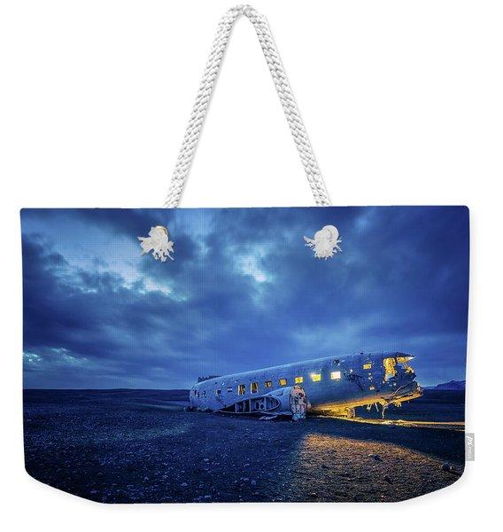 Dc-3 Plane Wreck Illuminated Night Iceland Weekender Tote Bag