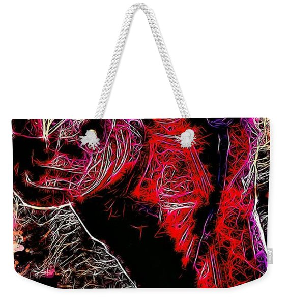 Weekender Tote Bag featuring the mixed media Deadpool by Matra Art