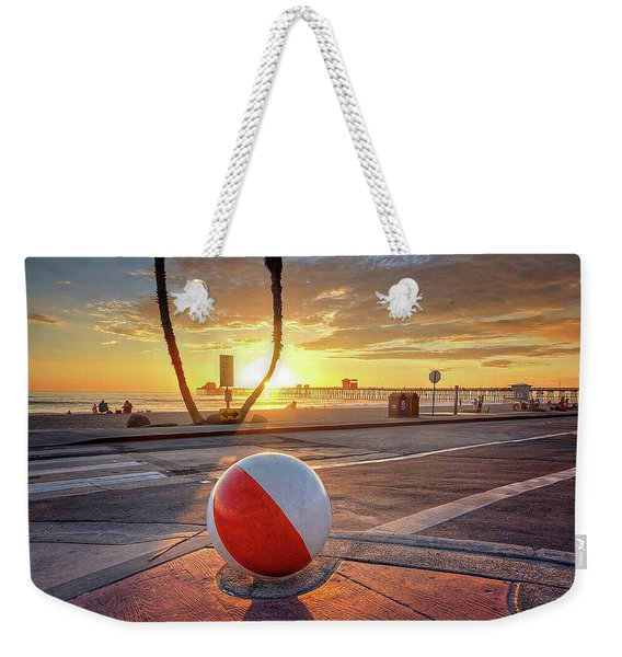Decorative Beach Ball At Oceanside Pier Weekender Tote Bag
