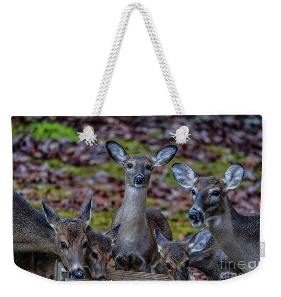 Deer Gathering Weekender Tote Bag