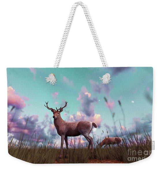 Deer In Grass Field At Sunset Or Sunrise,3d Illustration Weekender Tote Bag