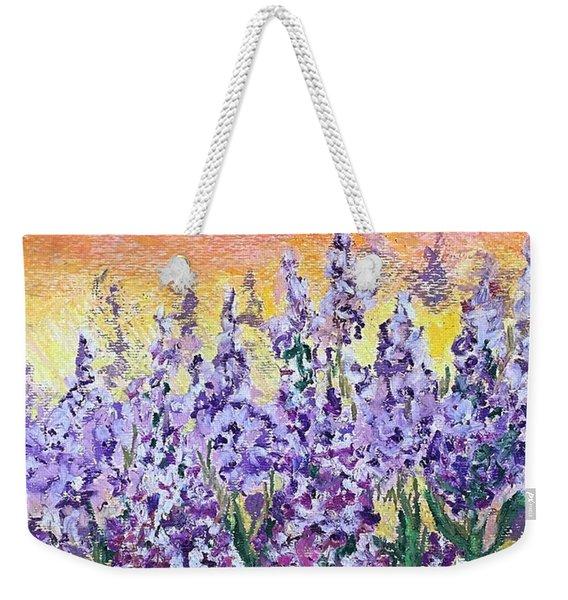 Delphiniums Weekender Tote Bag