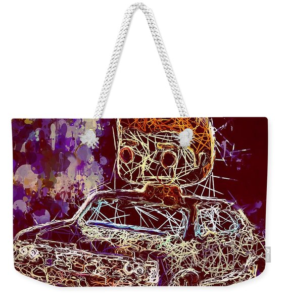 Weekender Tote Bag featuring the mixed media Dean Winchester Car Supernatural Pop  by Al Matra