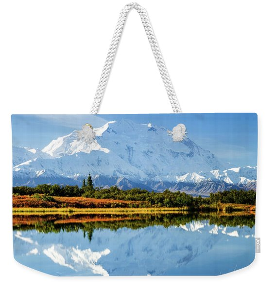 Weekender Tote Bag featuring the photograph Denali Reflection by Tim Newton