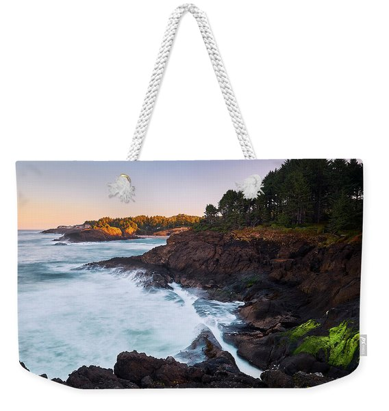 Weekender Tote Bag featuring the photograph Depoe Bay Sunrise by Whitney Goodey