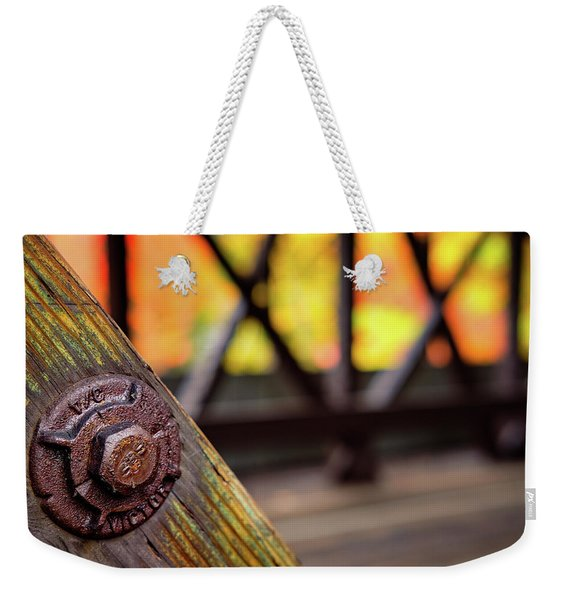 Weekender Tote Bag featuring the photograph Details On A Covered Bridge by Jeff Sinon