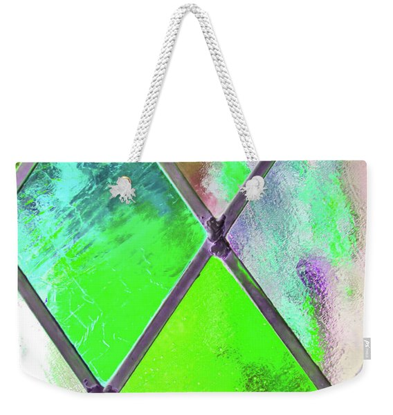 Weekender Tote Bag featuring the photograph Diamond Pane Green by JAMART Photography