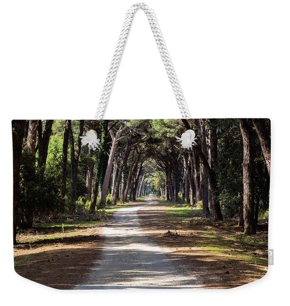 Dirt Pathway In A Mediterranean Pine Forest Weekender Tote Bag