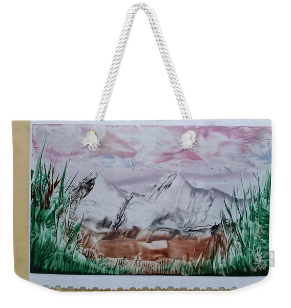 Distant Impressionistic Mountains Weekender Tote Bag
