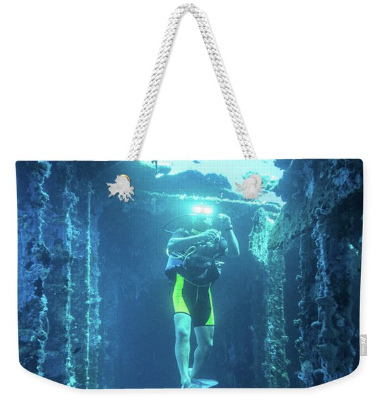 Diver In The Patris Shipwreck Weekender Tote Bag