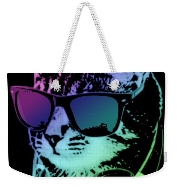 Dj Cat In Neon Lights Weekender Tote Bag