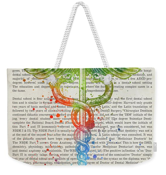 Doctor Of Dental Surgery Gift Idea With Caduceus Illustration 03 Weekender Tote Bag