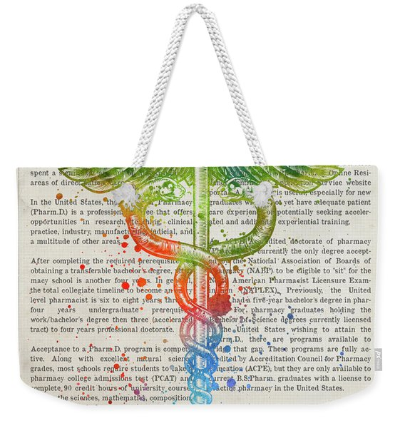 Doctor Of Pharmacy Gift Idea With Caduceus Illustration 03 Weekender Tote Bag