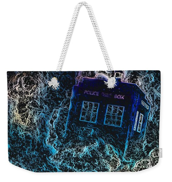 Weekender Tote Bag featuring the mixed media Doctor Who Tardis 3 by Al Matra