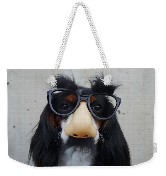 Weekender Tote Bag featuring the digital art Dog Gone Funny by ISAW Company