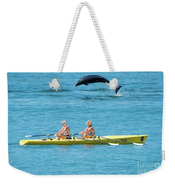 Dolphin Leaping Over Two Rowers Weekender Tote Bag